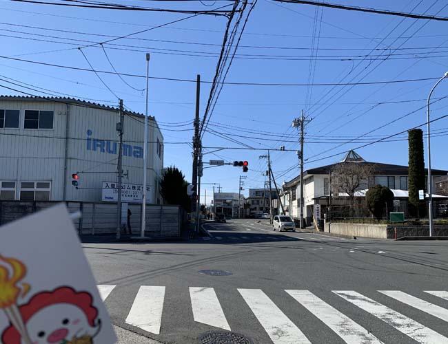 狭山市駅入口の交差点