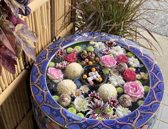 最明寺の花手水